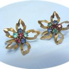 *Dainty Vintage Reis Screwback Earrings: Multicolored Rhinestones in 1/20 12K GF Flowers