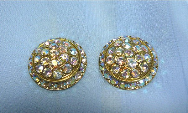 *Dazzling Dome-shaped AB Rhinestone Vintage Clipon Earrings, Color and Sparkle!
