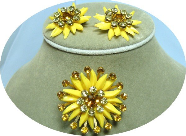 *Pretty Yellow Soft Plastic Vintage Brooch/Earrings: Accented with Sparkling Topaz and Lemon RS