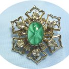 "*Vintage Brooch/Pin: Unusual Green ""Star"" Glass Stone, Sparkling Rhinestones, Goldtoned Mounting"
