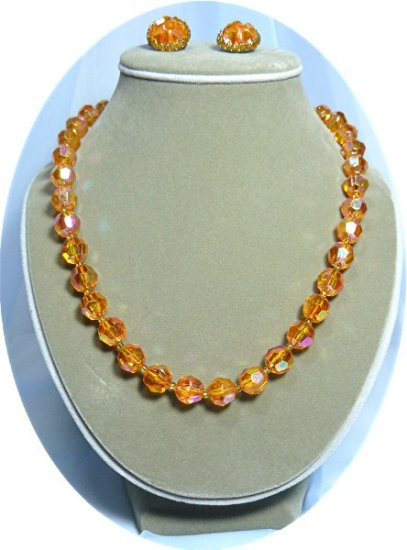 *Glamourous Austrian Crystal Vintage Necklace/Earrings in Beautiful Peach/Melon Colors
