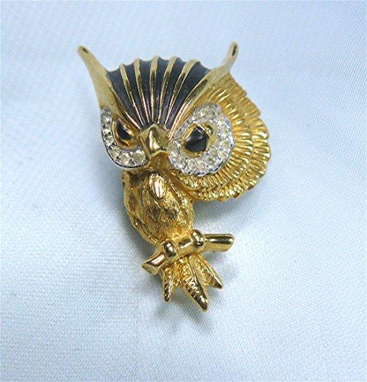 *Totally Charming Vintage Goldtone Jomaz Owl Dressed in Black Enamel and Rhinestones