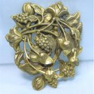 *Vintage Die-Cast Brass Dress Clip:  Swirls of Blooms, Grapes, and Leaves