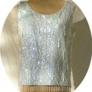 Light Blue Vintage Sequined Top: Wonderful Combination of Sequins, Beads, and Pearls