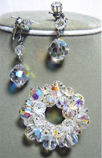 *Glittering AB Crystal Vintage Brooch/Pin and Earrings: Rainbows of Color