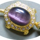 *Small Goldtoned Turtle Pin/Brooch:  Shell of Clear Rhinestones + Lovely Amethyst Color Cabachon