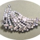 *Graceful Vintage Brooch/Pin in a Swirl of Sparkling Rhinestones, Emerald Cut and Chatons