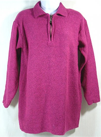 Great Fuschia Sweater from Newport News, Sz L, Zipper Neckline
