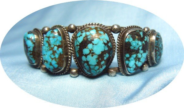 """*Graduated Turquoise Stones Mounted in Sterling Silver """"Old Pawn"""" Bracelet"""