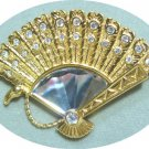 *Dainty Vintage Brooch/Pin, Swarovski Fan Set with Tiny Stones + Faceted Focal Stone