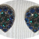 *Vintage Weiss Teardrop-shaped Clipon Earrings: Rich Blue/Turquoise/Green Colors