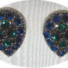 *Vintage Weiss Teardrop-shaped Clipon Earrings: Rich Blue/Turquoise/Green Colors