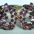 *Spectacular Clamper Bracelet & ER Set Done in Lavish Purple Rhinestones, Super Set!