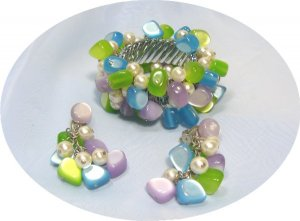 *Fun Set in Cool Colors:  Expansion Bracelet/Earrings w/ Faux Pearls/Moonglow Lucite Beads