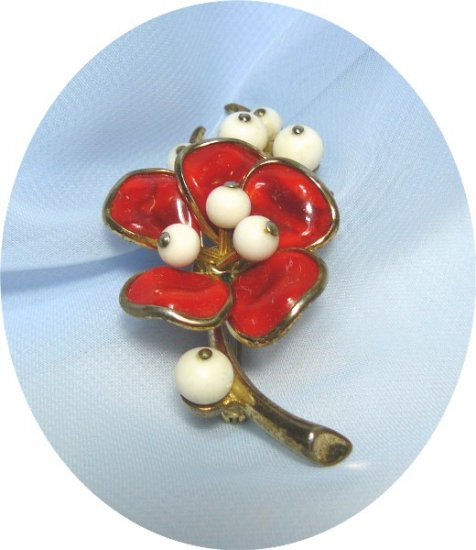*Vintage Trifari Poured Glass Flower Brooch: 1940's Red Magnolia Flower w/Bead Accents