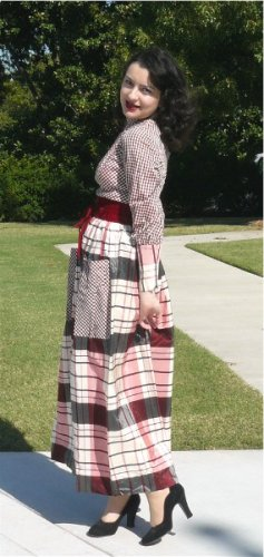 Striking Vintage Long Formal in Pink/Charcoal Plaid/Check Taffeta Combo, Unique Great Design