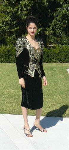 Shades of Dynasty!!  Black Velvet/Gold Brocade 2Pcs in Elegant Vintage Evening Suit: Cache, AJ Bari