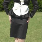 Drama in Black & White:  Vintage Peau de Soie Evening Suit, Great Waist Details, Rhinestone Accent