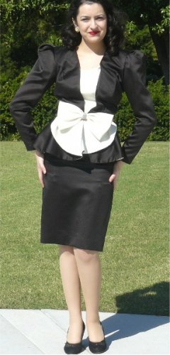Drama in Black & White:  Vintage Peau de Soie Evening Suit, Great Waist Details, Rhinestone Accent