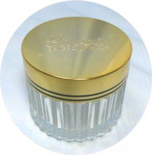 Vintage Giorgio Powder Jar: Gold Tone Lid with Black Side Striping, Clear Glass Base