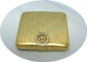 Vintage Brushed Gold Tone Avon Powder Compact w/Rhinestone Circle Clasp, Lovely Piece