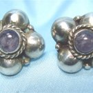 *Vintage Mexican Silver Earrings; with Amethyst(?) Centers, Cute as a Button