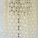 "Fun Vintage Skirt in Cotton ""Lacy"" Look Fabric; Yellow Linen Trim, Great Summer Look"
