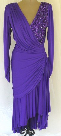 Knockout Design!  Stunning Color!  Tadashi Shoji Royal Purple Draped Dress w/Sequin Accent