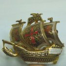 *Tiny Damascene Sailing Ship in Full Sail, Cute Vintage Brooch from Spain