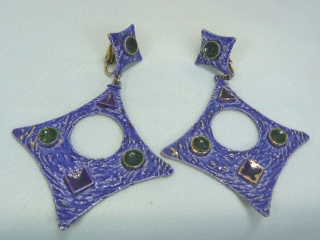 "*Cool Look ""Art"" Vintage Clipon Earrings:  Great Modern Diamond Shapes in Blue"