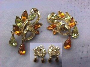 Swirling Vintage Coro Design Goldtoned Earrings: Lemon & Topaz Rhinestones that Sparkle and Dangle