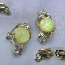 Goldtoned Swirl in Vintage Coro Clipon Earrings w/Lemon Confetti Glass and Sparkling Rhinestones