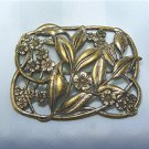 Pretty Rectangular Antique Brooch Done in Graceful Curves of Leaves and Flowers