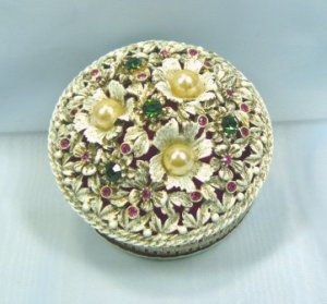 Vintage Florenza Round Ring/Trinket Box:  White w/Brushed Gold Accents, Rhinestones/Pearls