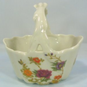 """Sweet Porcelain Handled Basket, Takahashi """"East Wind"""",  Floral Motif"""