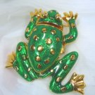 Perky Green Enameled Frog Brooch w/2 Surprises!  He's by Kenneth J. Lane and is a Watch!