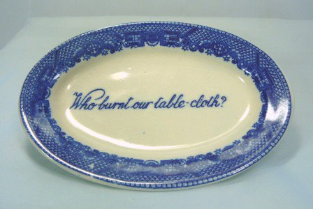 """Vintage Japan Blue Willow Small Dish/Ashtray w/""""Who Burnt Our Table-cloth?"""""""