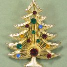 Vintage Brooks Christmas Tree Brooch/Pin:  Goldtoned with Bright Multicolor Rhinestones