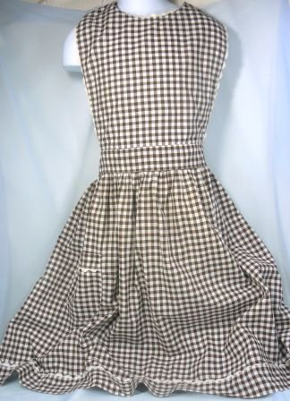 Very Vintage Brown/White Checked Cotton Bib Apron, White RickRack Trim