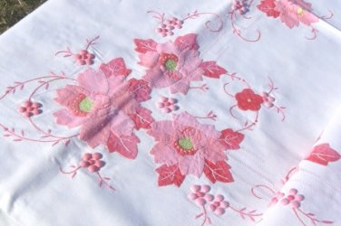 Incredible Piece of Handwork:  Vintage 70x85 Tablecloth in Pinks, Appliques, Fagoting, Embroidery