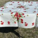 "Vintage Wilendur Strawberries Full-size 54"" Square Tablecloth, Great Condition"