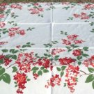 "Bright Bouquets of Red, Peach, and White Lilacs Frame 51"" Square Vintage Tablecloth"