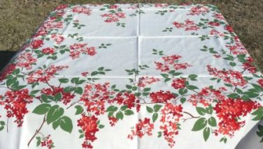 """Bright Bouquets of Red, Peach, and White Lilacs Frame 51"""" Square Vintage Tablecloth"""