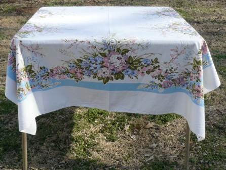 Pastel Floral Bouquets Bring Spring to a Vintage Tablecloth: 50x64