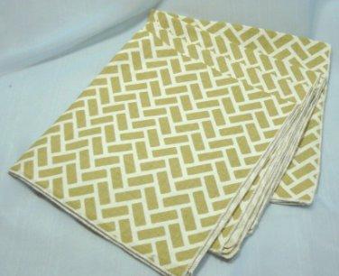 Set of 4 Vintage Leacock Napkins, Tan/White Design, Never Used