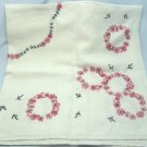 Card Table Sized Vintage Linen Cloth Hand Embroidered Daisies in Cheerful Red/Black