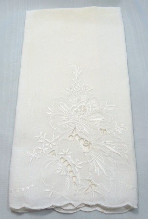 Lovely White Vintage Guest Towel with Self Embroidery and Cutwork Design