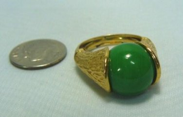 Classic Costume Ring w/Jade Look Stone, Goldtone Mounting