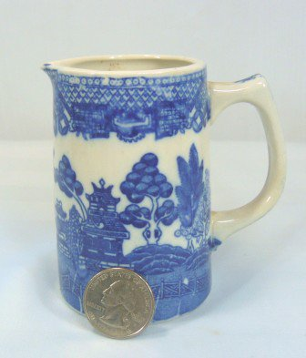 Small Blue Willow Vintage Pitcher, Unmarked