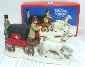 Brightly Painted Porcelain Coach with Two White Horses for Christmas Village